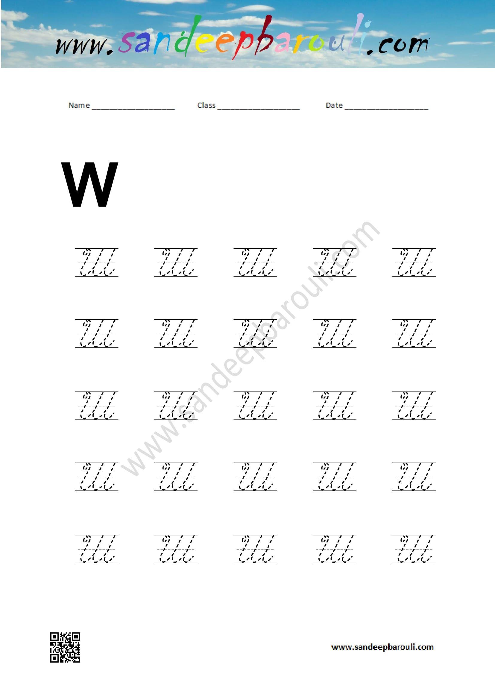 Cursive Writing Worksheet For Capital W Educational