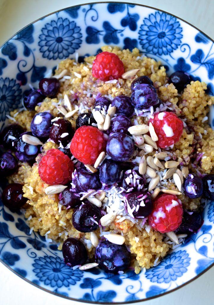 "Warm Berry Quinoa Breakfast Bowl - from ""50 of the BEST Quinoa Breakfast Recipes"""