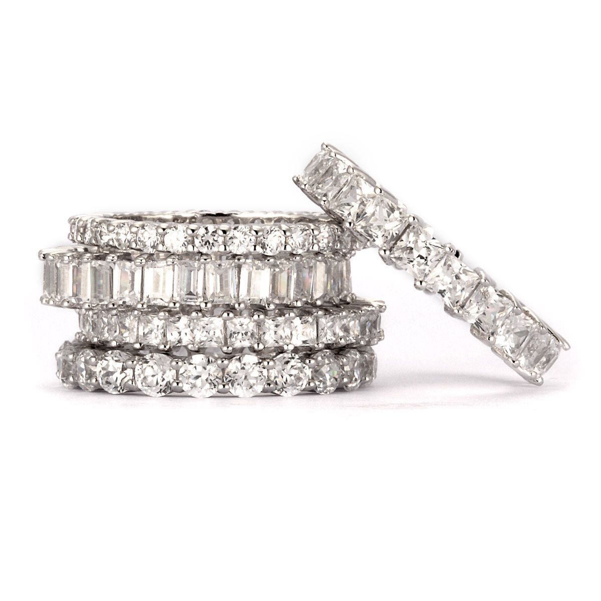 Designs Simulated Diamond Set Of 5 Stackable Rings Sterling Silver