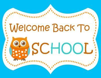 Welcome Back to School! Wise Little Owl Door Sign for welcoming your students back to school ~ Aqua and Tan ~ 8.5 x 11Be sure to check out my ...