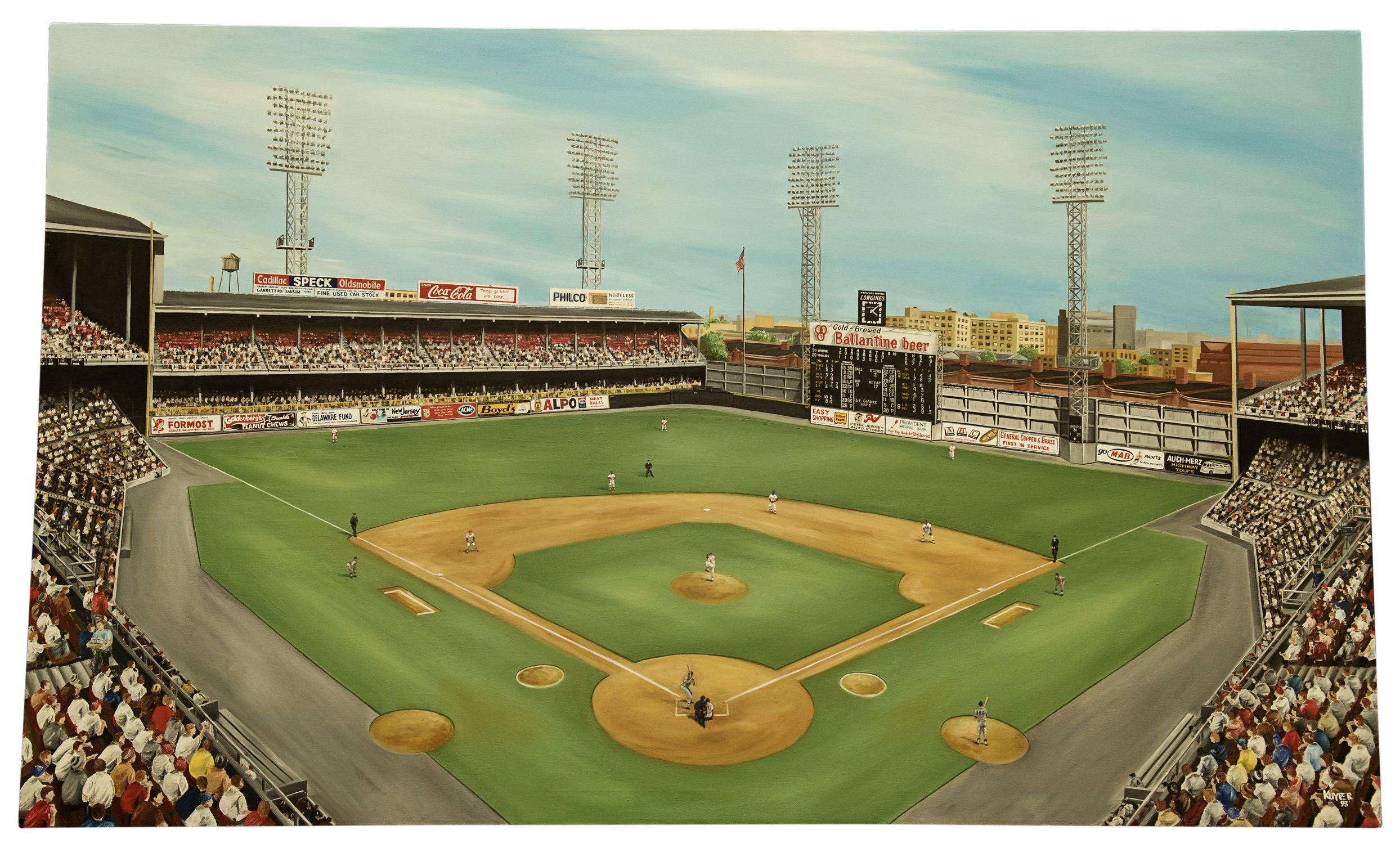 Lot Detail Connie Mack Stadium Mahaffey S 17 Strikeout Game 3x5 Ft Oil On Canvas Painting By Mike Kuyp Stadium Major League Baseball Stadiums Baseball Park