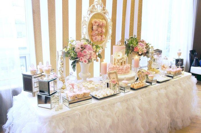 dessert table from a pink gold princess party via karas party ideas karaspartyideas
