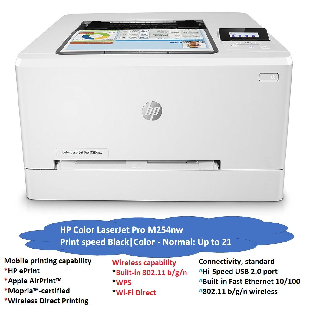 HP M254nw Color LaserJet Pro Printer, 21ppm, WiFi, Network