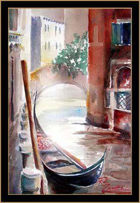 Gondola Solitaria Venice Italy Aquarelle Paysage Peinture