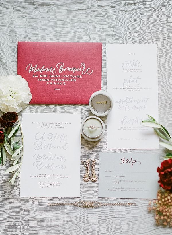 marriage invitation from bride and groom wording%0A Burgundy Invitation Suite   Image by JBJ Pictures Paris Wedding Photographer