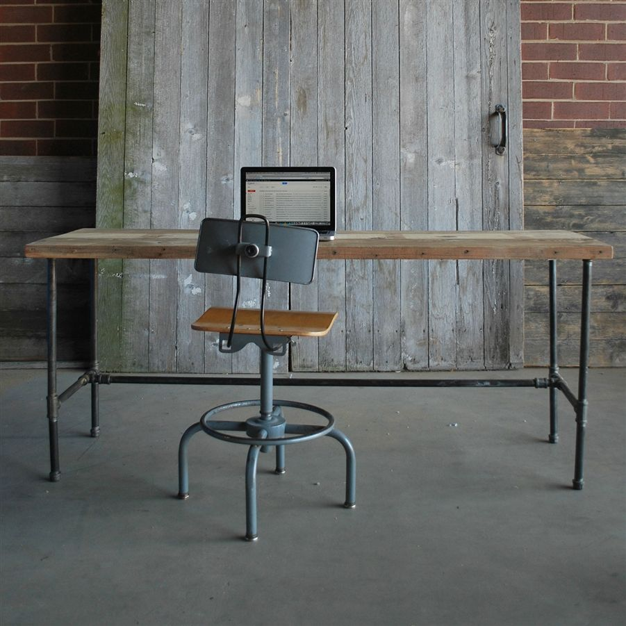 modern industry reclaimed wood desk family room reclaimed wood rh pinterest com reclaimed office furniture birmingham reclaimed office furniture near me