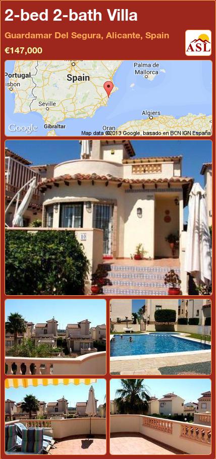 2-bed 2-bath Villa in Guardamar Del Segura, Alicante, Spain ►€147,000 #PropertyForSaleInSpain