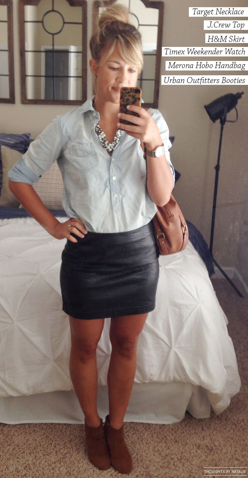 Get The Look: Leather + Chambray // www.thoughtsbynatalie.com #fallfashion