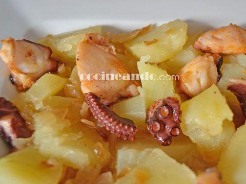 Receta de patatas guisadas con pulpo - Cocineando