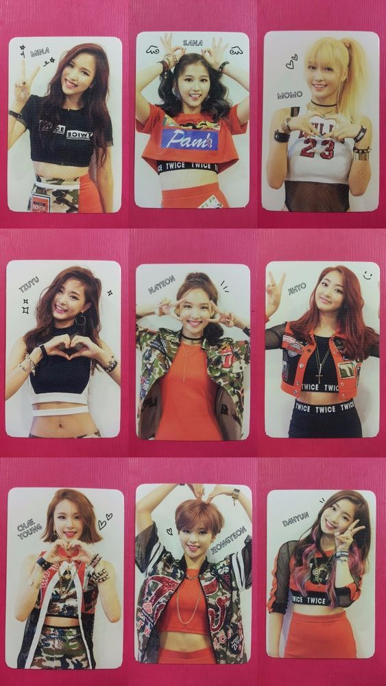 Details about LOT of 9 TWICE Official PHOTOCARD Red Adult