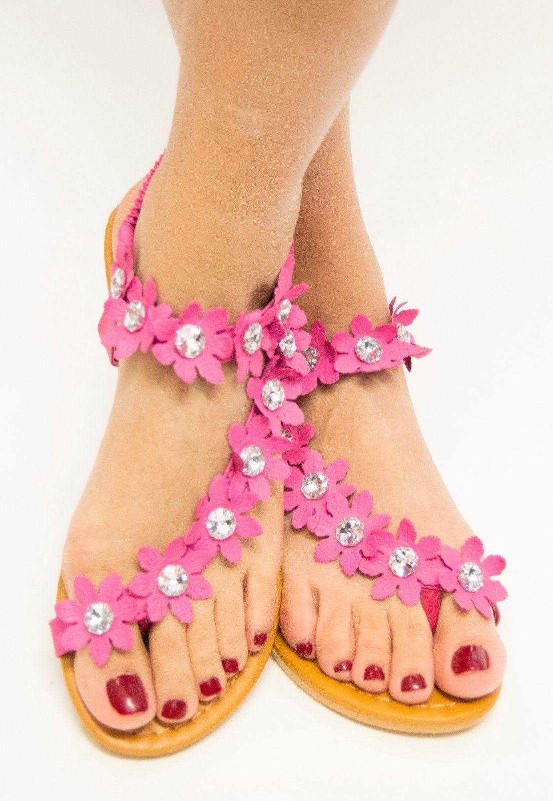 Women Rhinestone Flower Flip Flops Flat Sandal Thong Open Toe Y-Strap Gladiator