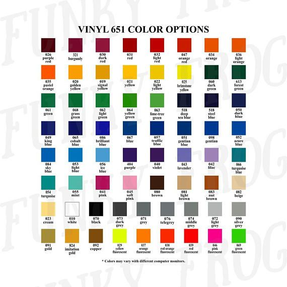 Vinyl Color Options Chart For Store Owners Color Mockups Etsy Vinyl Colors Option Charts Color Options