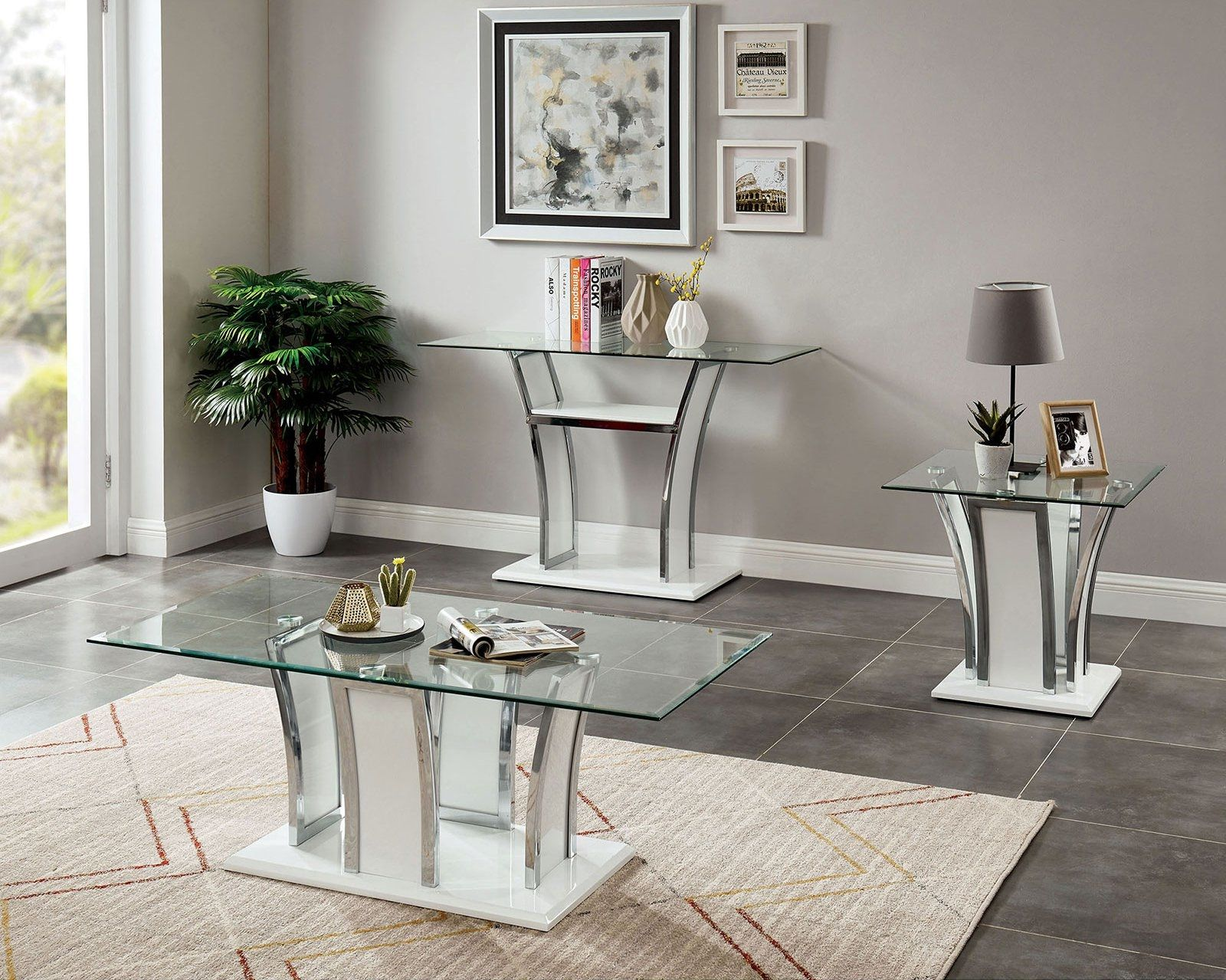 Staten White Coffee Table Cm4372wh C Furniture Of America Coffee Tables Coffee Table Metal Dining Table Accent Table Sets Living room coffee table set