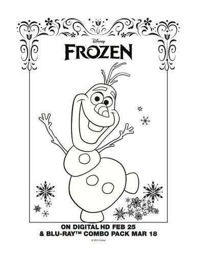 Frozen Mini Coloring Pages : Frozen printable snowman coloring page