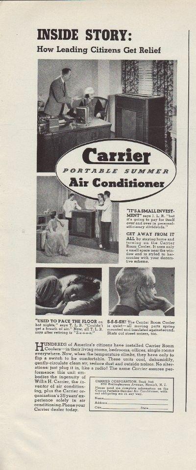 1937 Carrier Air Conditioner Ad \ - Air Conditionne Maison Prix