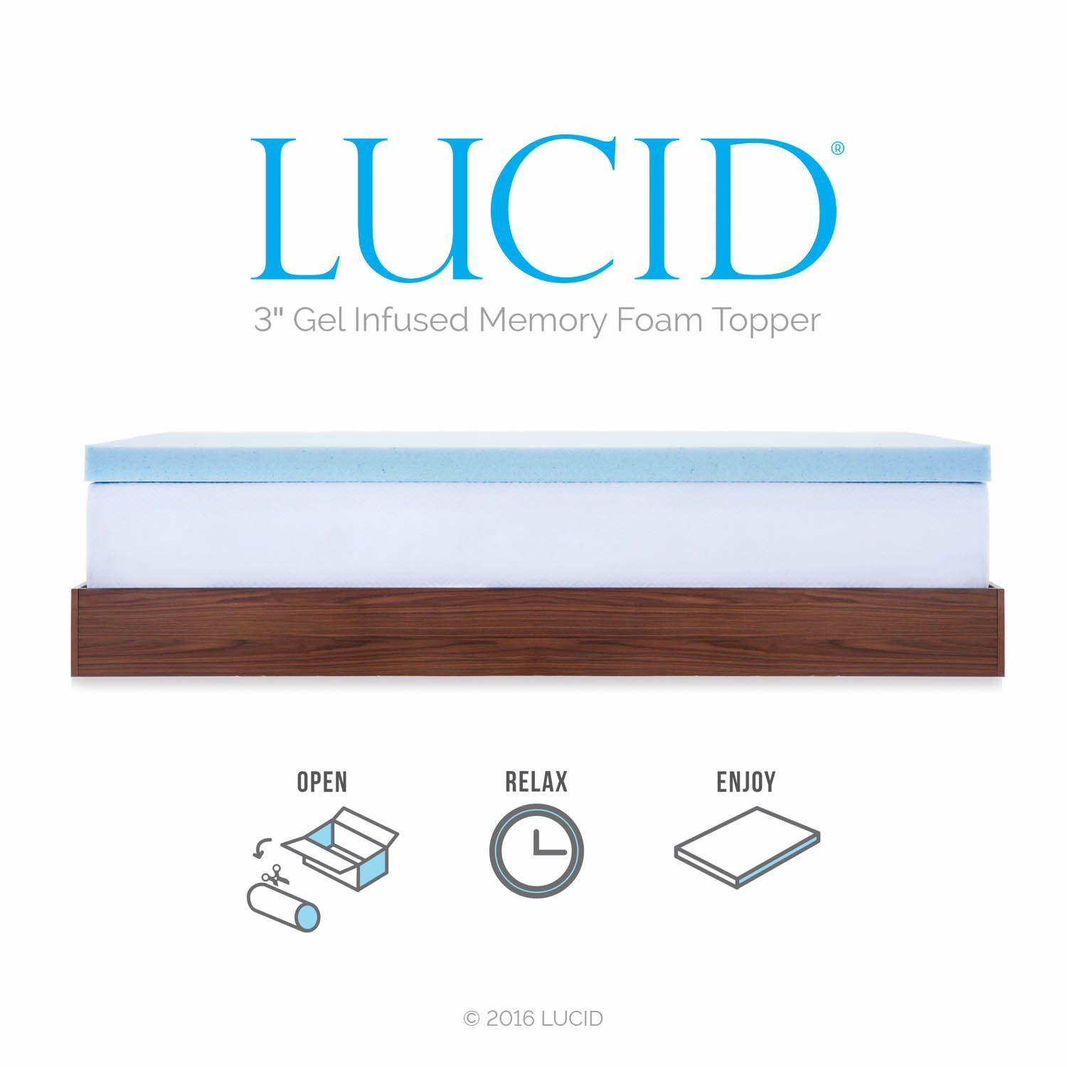 Lucid 3inch Gel Memory Foam Mattress Topper Queen Click Image To
