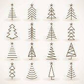 Abstract silhouette Christmas tree icons set on grey backgroundabstract