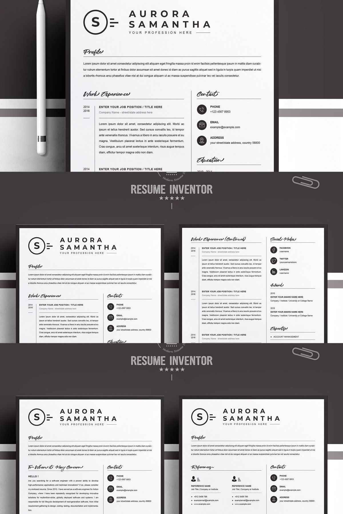 Modern Resume Template for Word, Mac in 2020 Modern