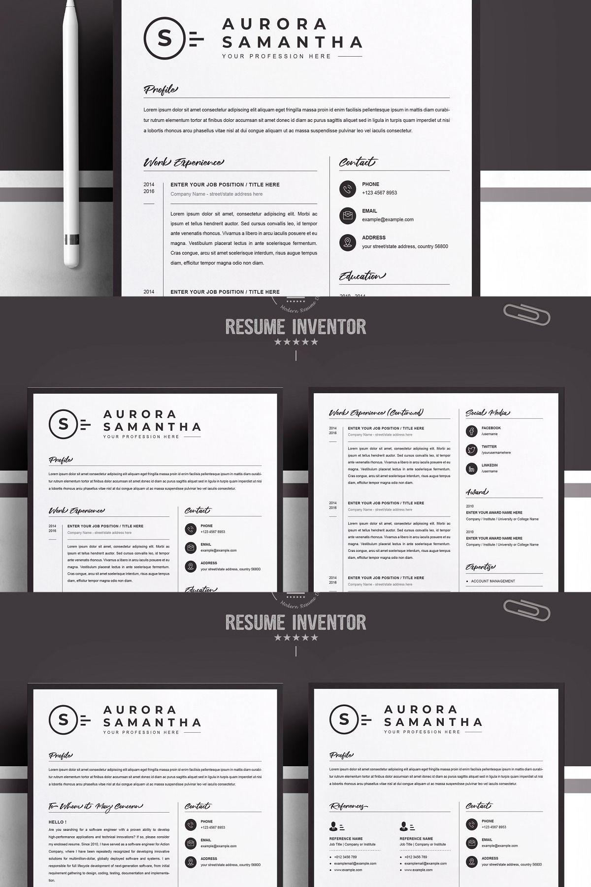 Modern Resume Template for Word, Mac in 2020 Modern