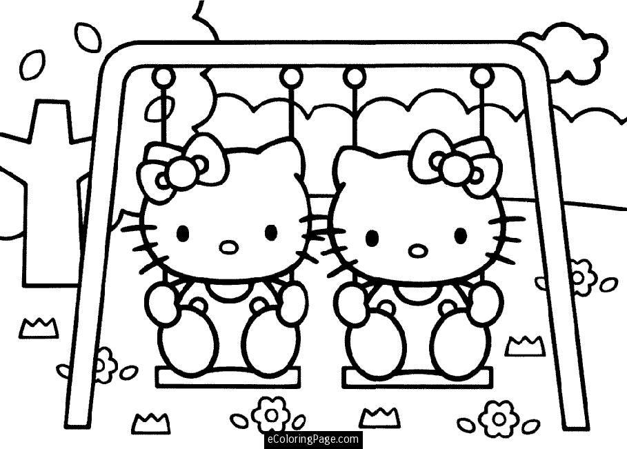 Print Coloring Pages Hello Kitty And Her Twin On A Swing