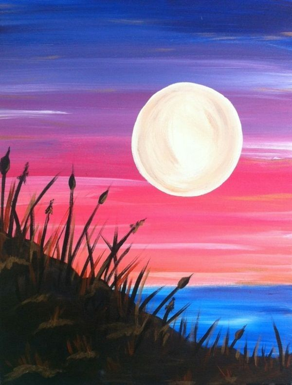 110 easy acrylic painting ideas for beginners to try is part of Simple acrylic paintings - 110 Easy Acrylic Painting Ideas for Beginners to try Watercolorart Moon