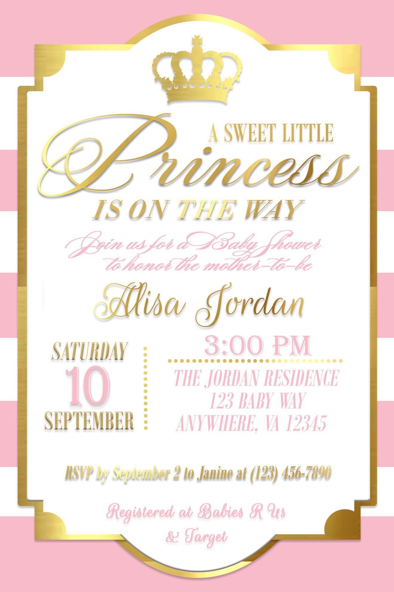 Gold Princess Baby Shower Invitation// Baby Girl Shower Invitation ...