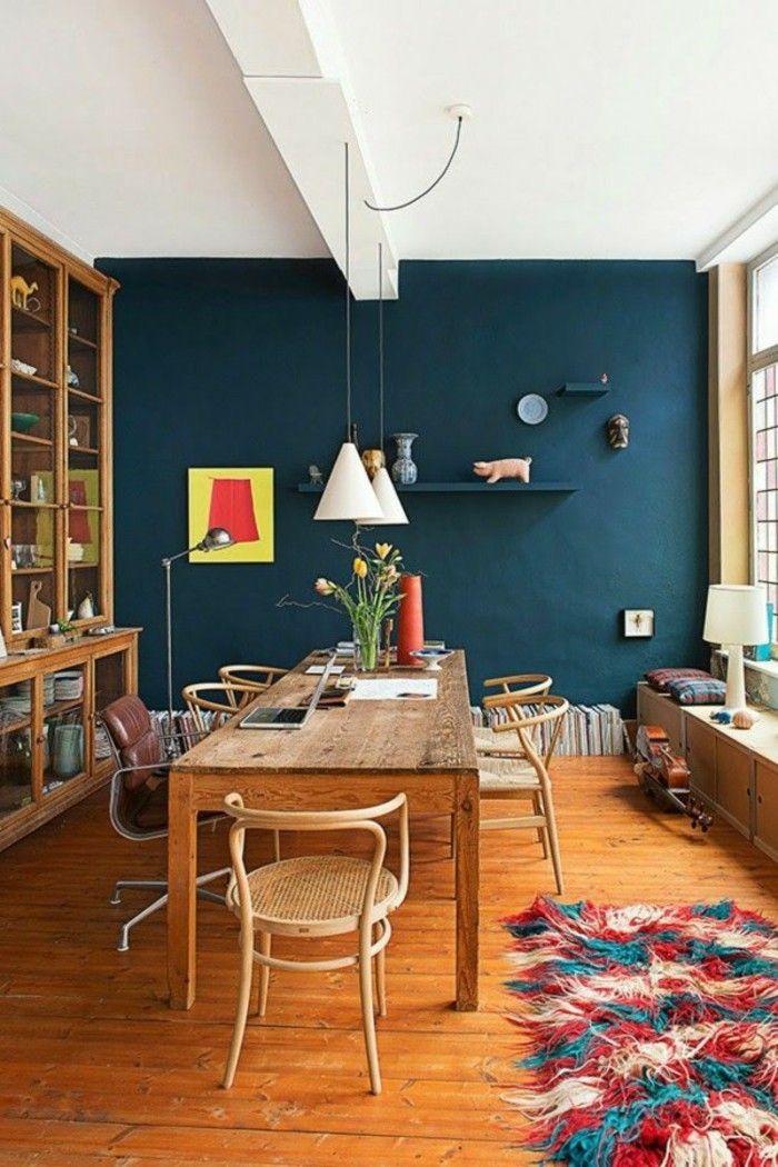 Effektvolle Wandfarben Vorschläge Esszimmer In Blau