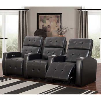 Andria 3 Piece Top Grain Leather Power Media Recliners Living Room Set    Black