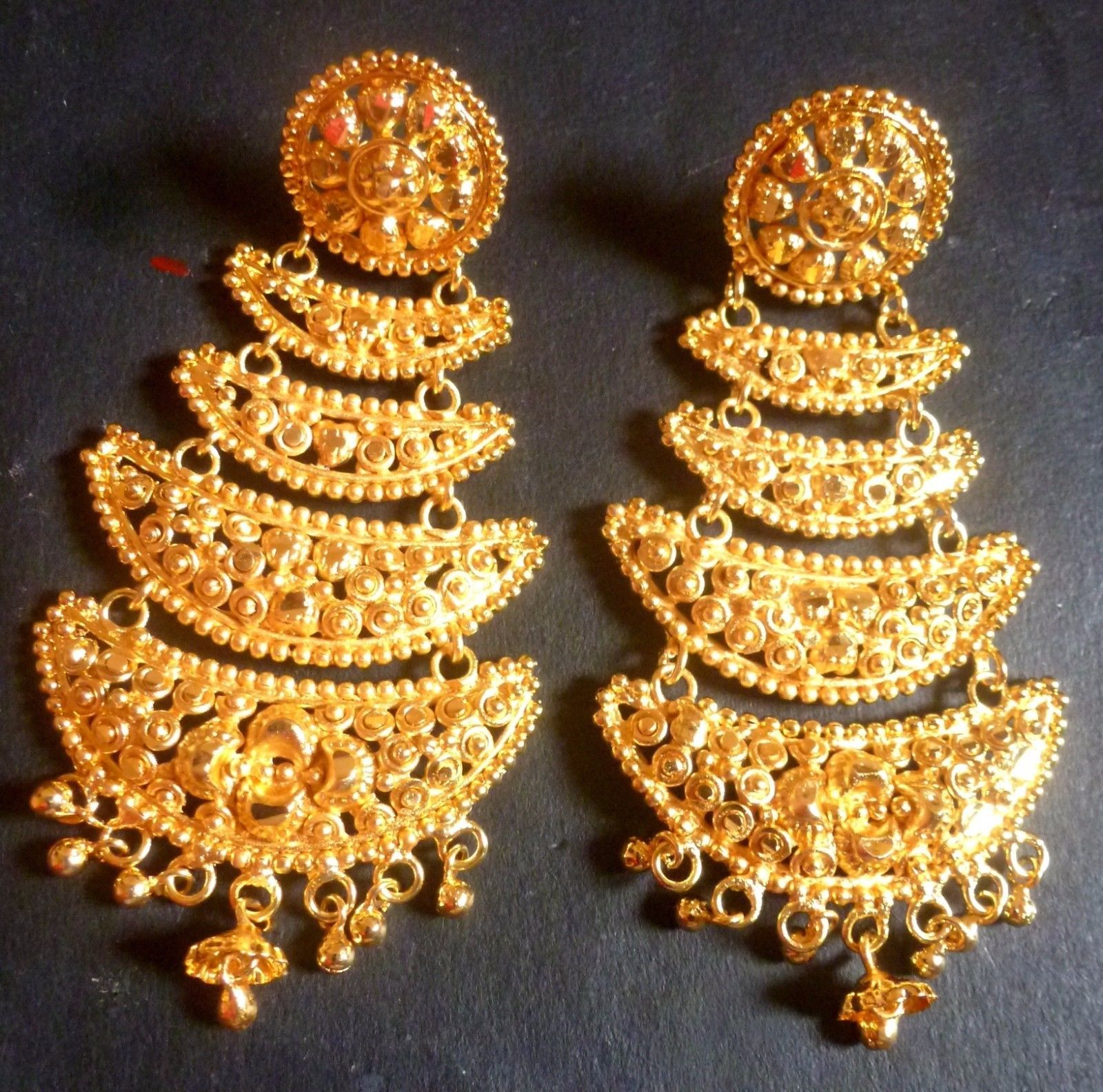 e8249db1d 22K Gold Plated 4 Steps Indian Wedding Jhumka Gorgeous Party Earrings