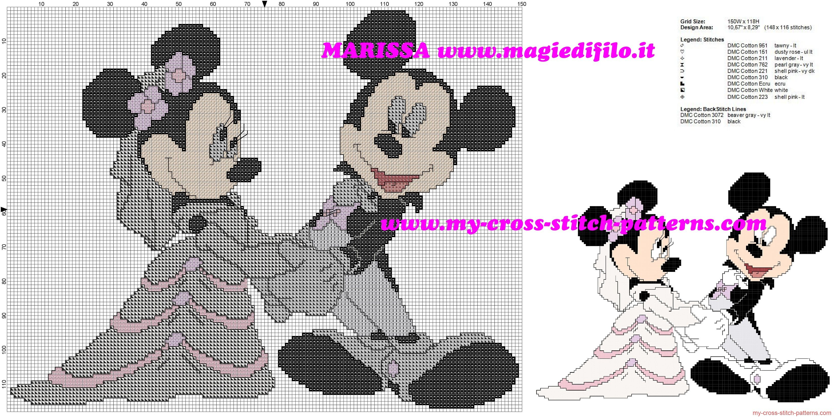 Minnie and Mickey Mouse married free cross stitch pattern | cross ...