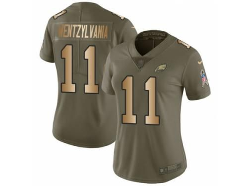 cc2dd9cb8 Women Nike Philadelphia Eagles  11 Carson Wentz Limited Olive Gold 2017  Salute to Service