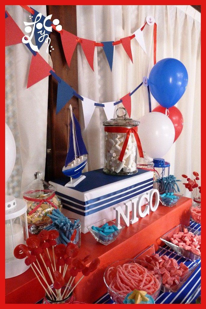Mesa dulce marinero azl rojo y blanco rayas azules for Mesa dulce marinera