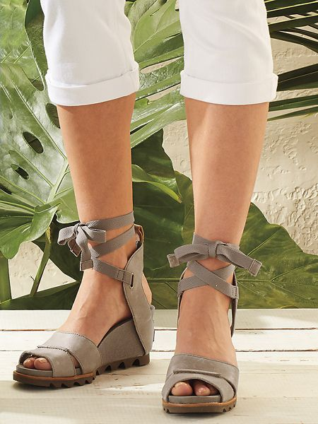 675ab0520b8 Sorel Joanie Wedge -Fashion and comfort come together in this gladiator lace-up  sandal from SOREL. Full-grain leather with open back and laces that tie ...