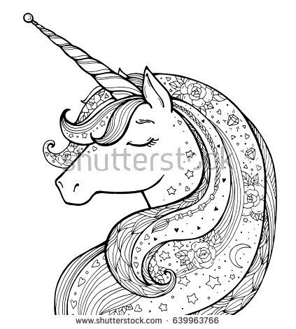unicorn magical animal vector artwork black and white coloring book pages for adults and. Black Bedroom Furniture Sets. Home Design Ideas