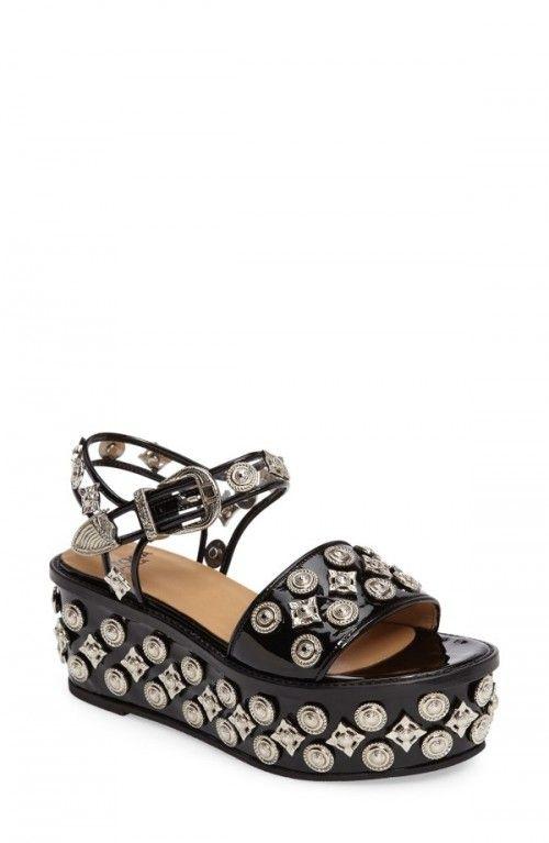 TOGA PULLA Velvet embellished wedge sandals Deals For Sale Sale Choice Clearance Footlocker j9eSV0N