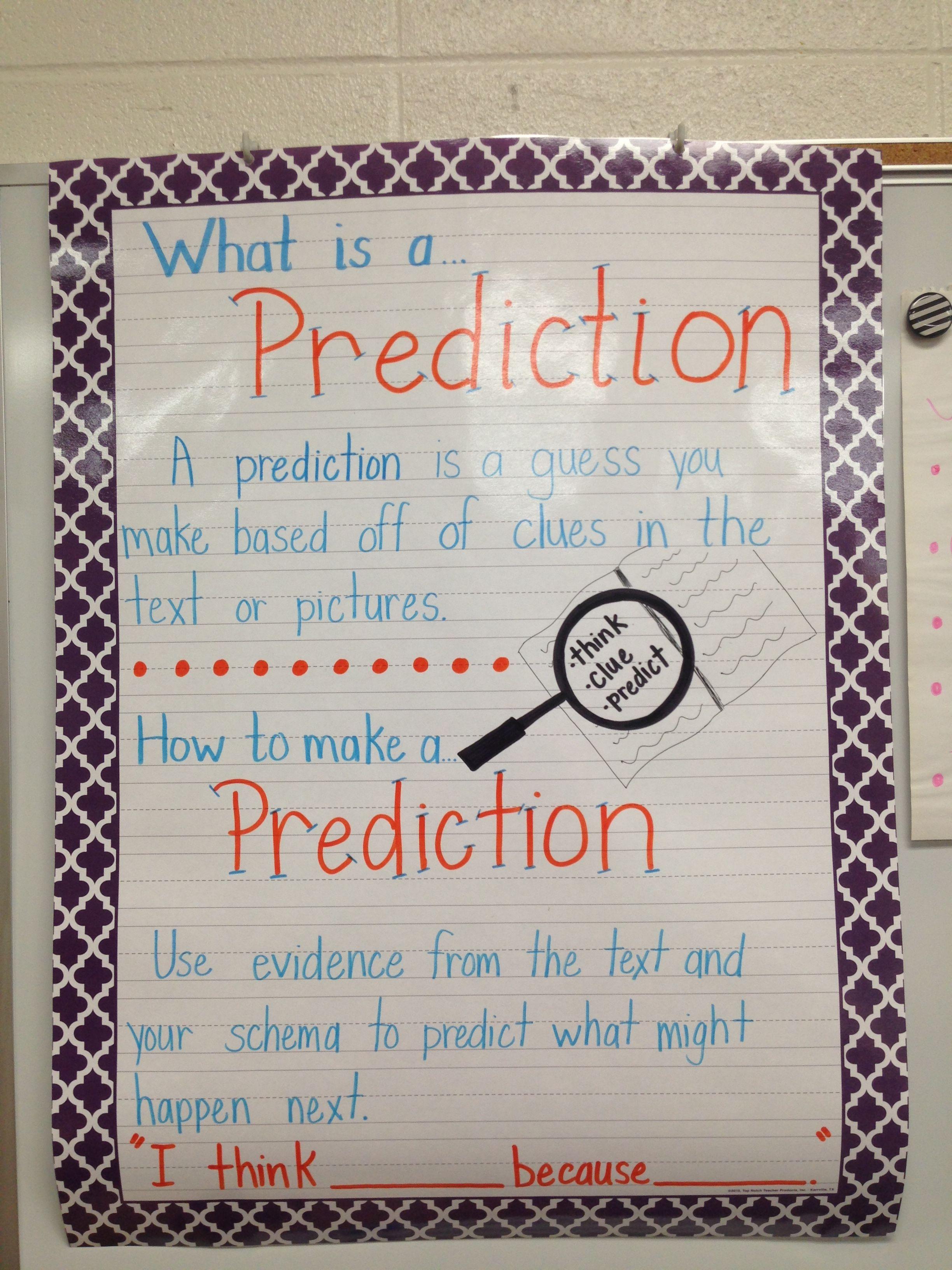 3rd Grade Prediction Anchor Chart How Do We Make