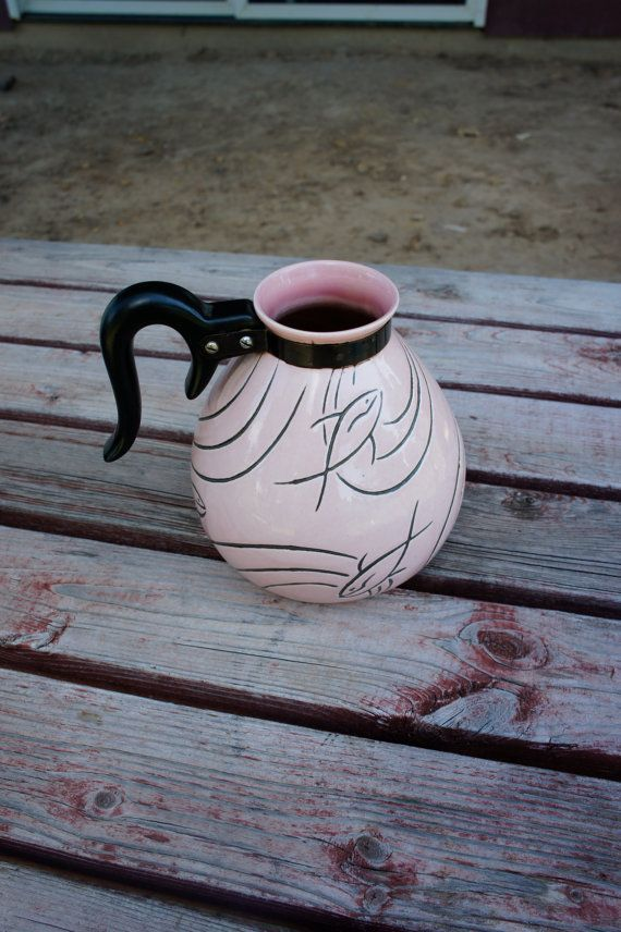 pink Aqua marine Roselane coffee server teapot carafe stylized fish mid century collectible pottery #coffeeserver pink Aqua marine Roselane coffee server teapot carafe by gleaned, love pink  ! #coffeeserver