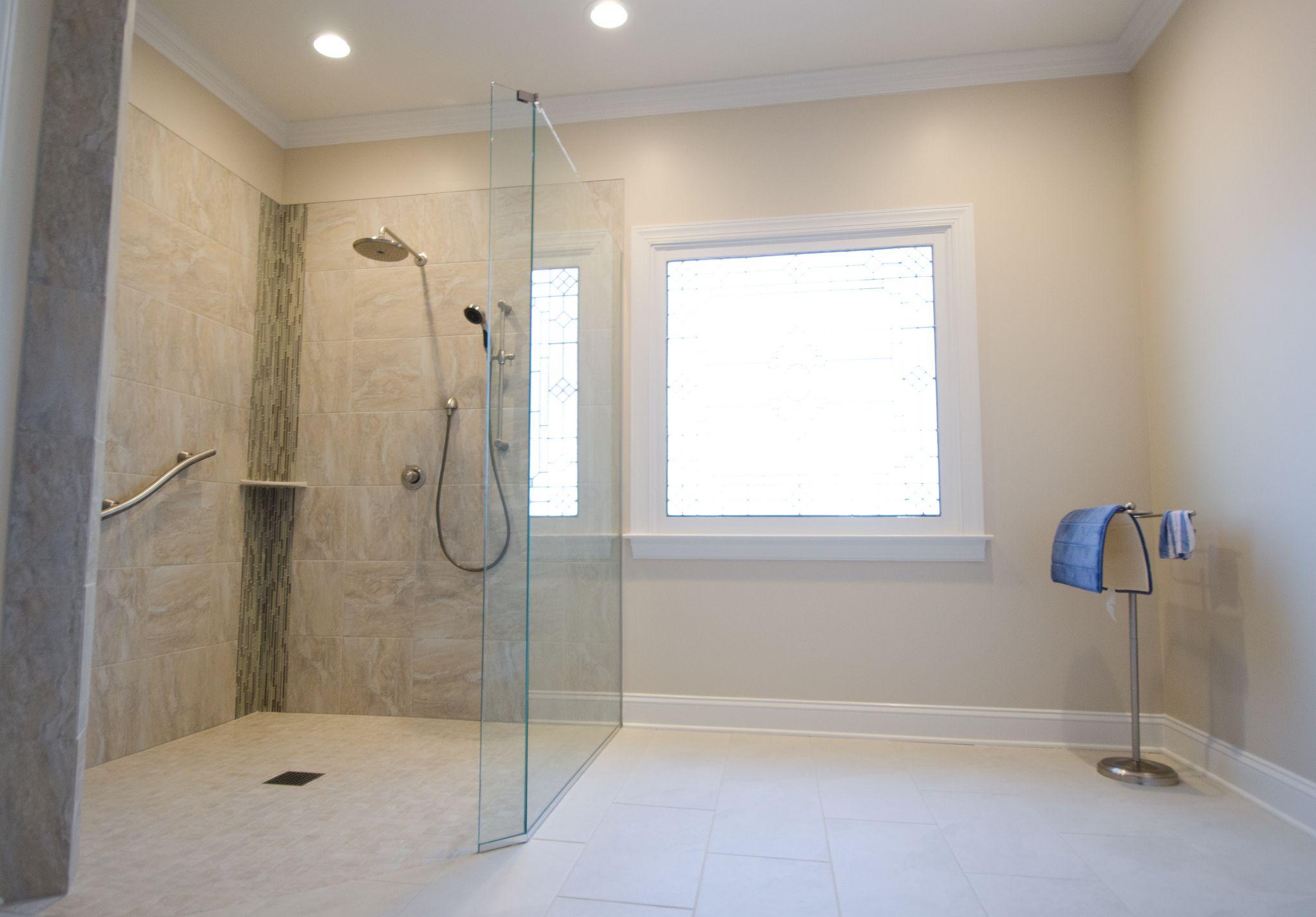 Re Tile Bathroom Bathroom Remodel Walk In Shower No Threshold Shower