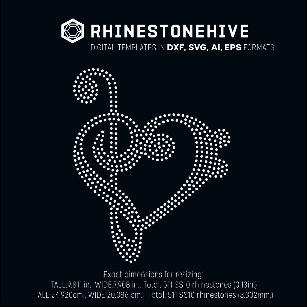 Music heart rhinestone template digital download, ai, svg