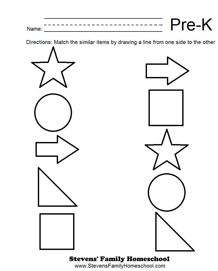 Printables Worksheets For Prek k worksheets for kindergarten pre through math worksheet matching 1 stevens family homeschool for