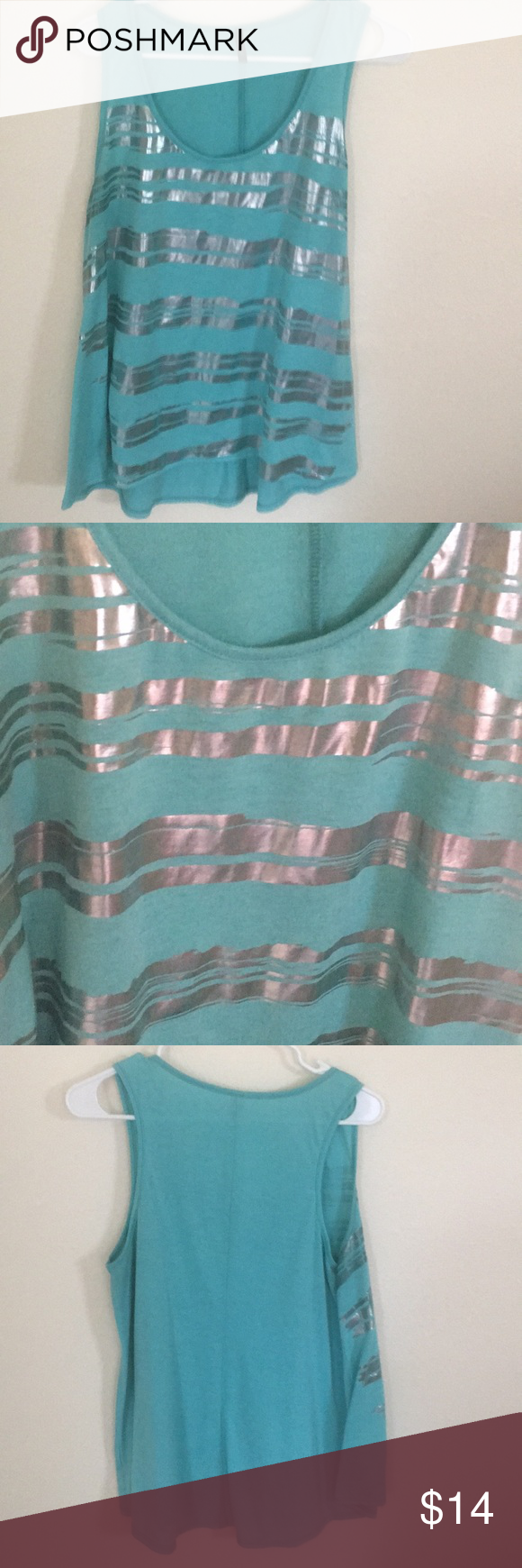 544de8fde60d Candy Rain tank top size 2X Fun and festive tank top in like new condition. Mint  green in color with silver streaks. Very cute! Tops Tank Tops
