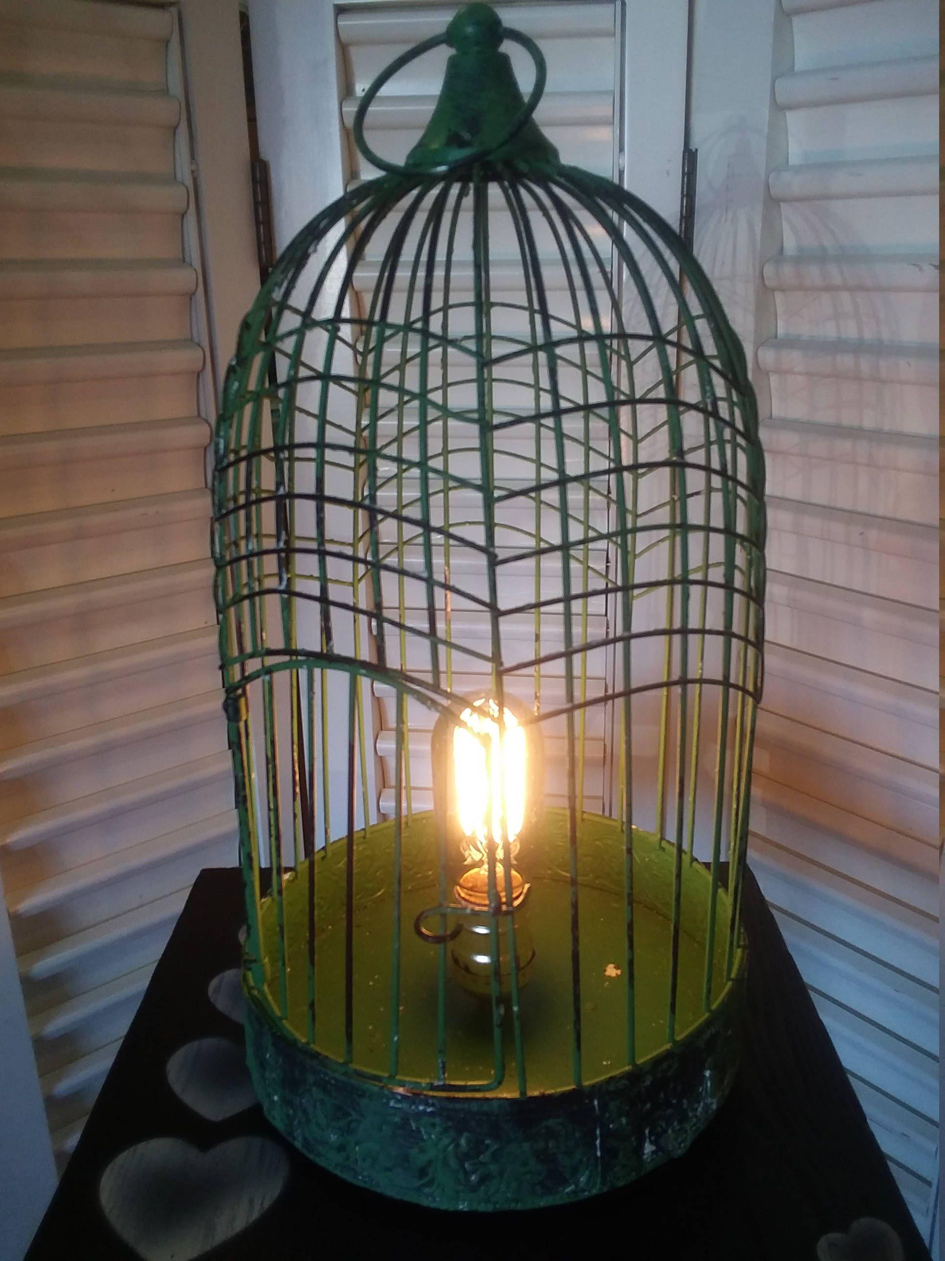 Metal Birdcage Table Top Light. Desk Lamp. Fits Many Decor