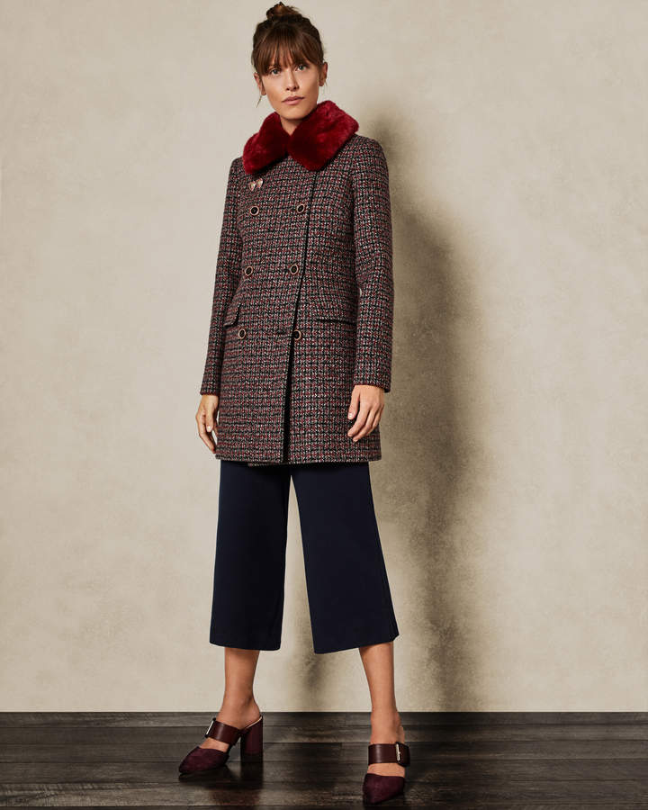 ff1a0d947 Ted Baker ELONI Removable faux fur collar wool pea coat