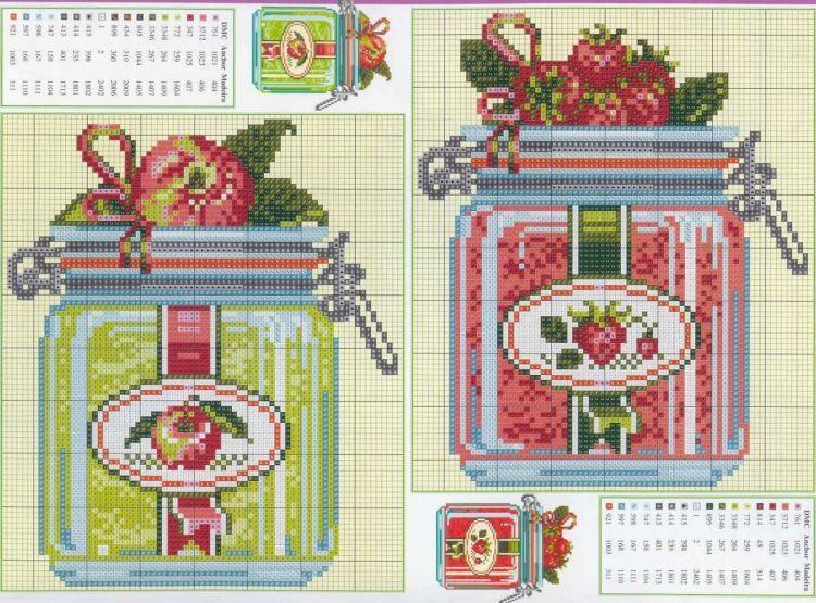 cuisine - kitchen - confiture - point de croix - cross stitch - Blog : http://broderiemimie44.canalblog.com/