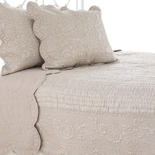 The Outlet | Fanny Platinum Quilt & Sham Set | A graceful Tuscan-style design on soft, silky polyester and cotton quilt and sham, with a slight sheen. Hand-quilted center.