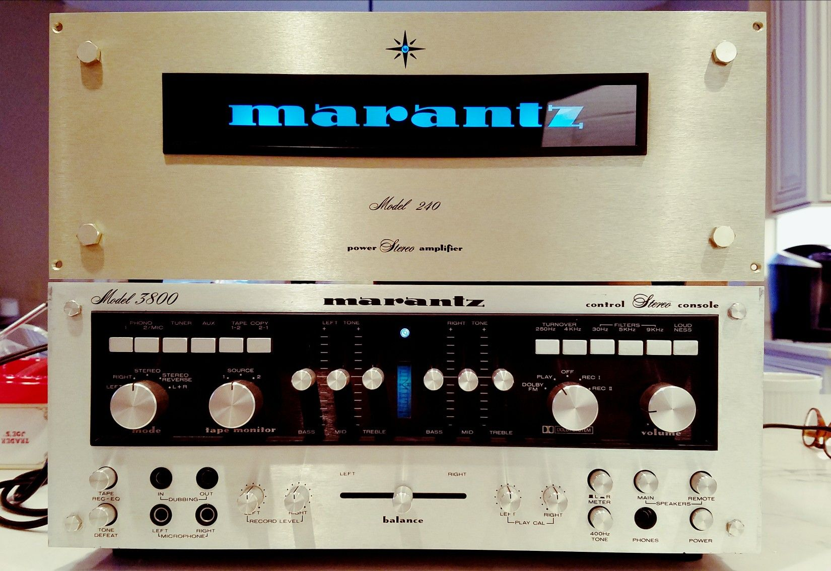Vintage Marantz Model 240 amp with custom backlit faceplate and 3800