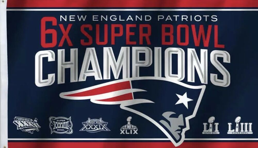 New England Patriots Super Bowl Champions 3x5 Flag Free shipping within the US