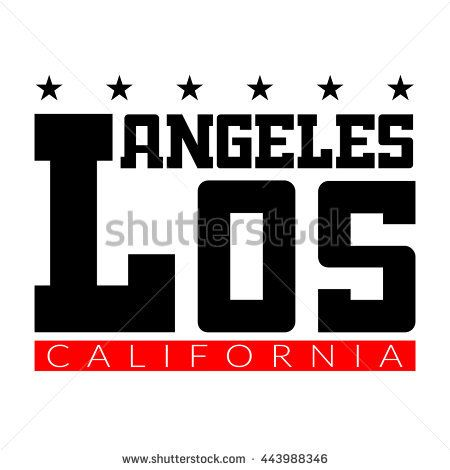 T shirt typography graphics Los Angeles California Athletic style