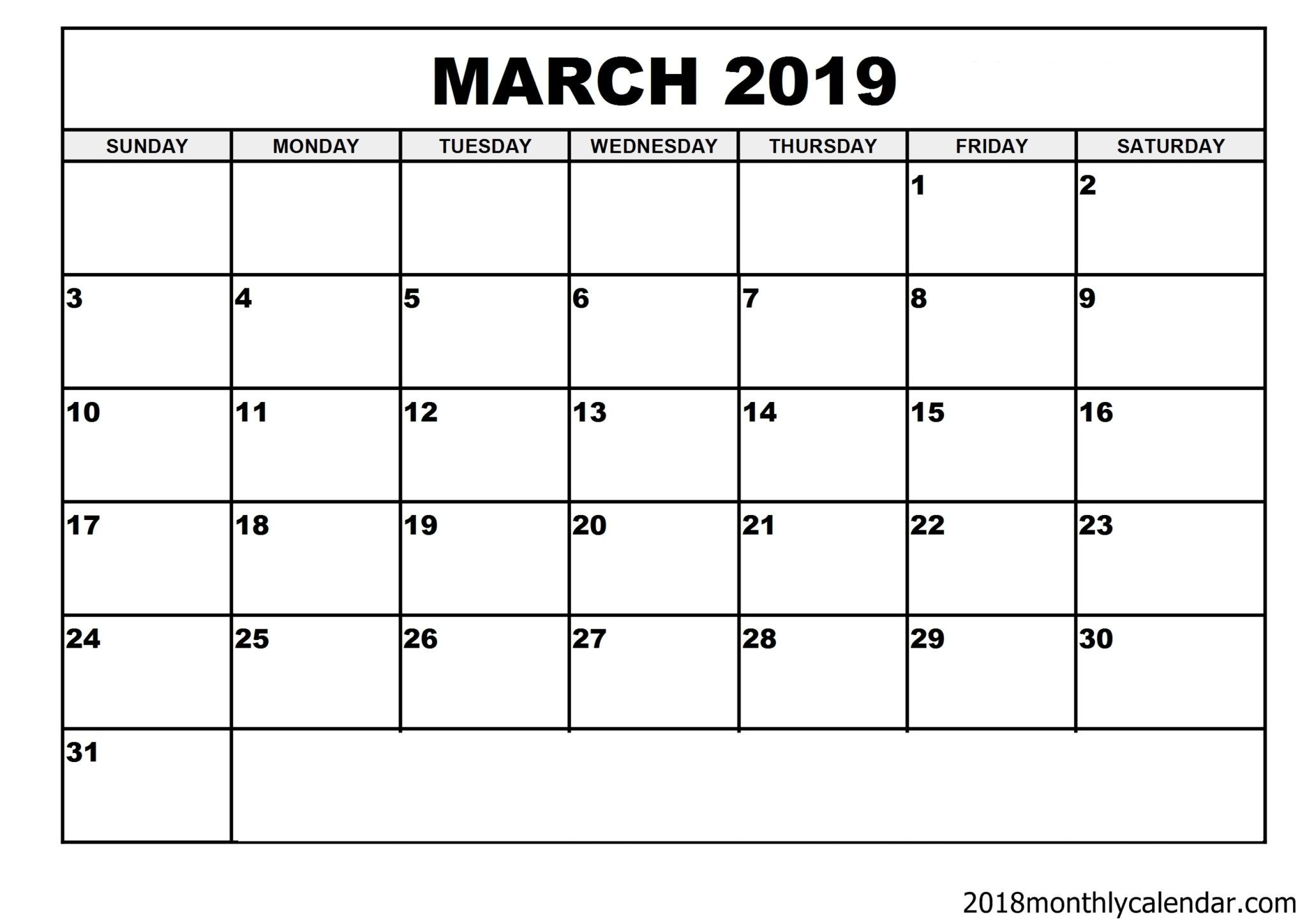 March Calendar Template 2019 Download March 2019 Calendar – Blank Template   Editable Calendar