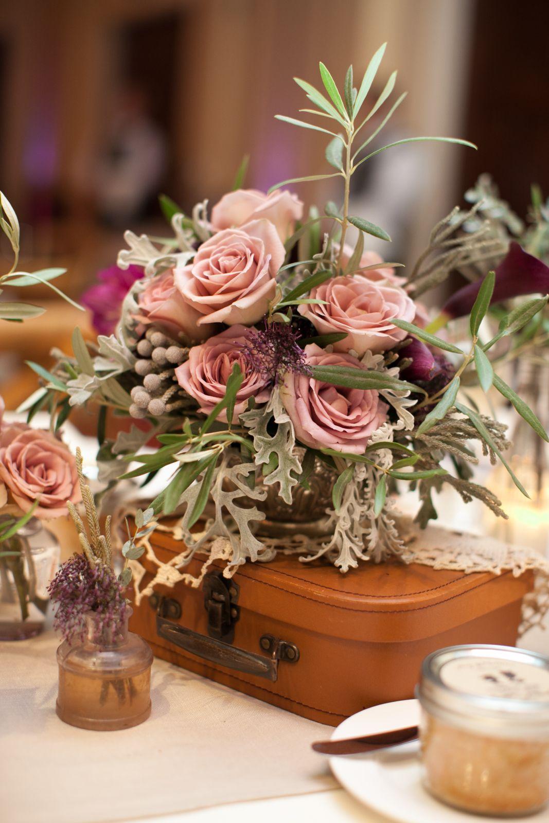 #romantic pinks and earthy sage… some of the best combinations for #vintage #wedding arrangements! #crosbyandjon #weddingdesign. Mibelle photography